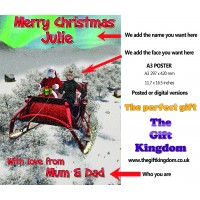 Christmas A3 Poster or digital - Personalised with face and name - on a sleigh